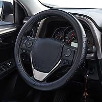 FMS Couvre Volant Cuir 37-38 cm Housse de volant Intérieur de l'automobile Accessoires, Durable, Respirant, Anti-glissement, Inodore Noir