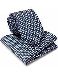 Savile Row Men's Blue White Dogstooth Silk Tie And Hanky Set