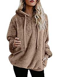 YEBIRAL Frauen Winter beiläufige Art und Weise Normallack mit Kapuze Sweatshirt-Mantel-warme Kaschmir-Wollreißverschluss-Baumwollmantel Outwear Sweatshirt