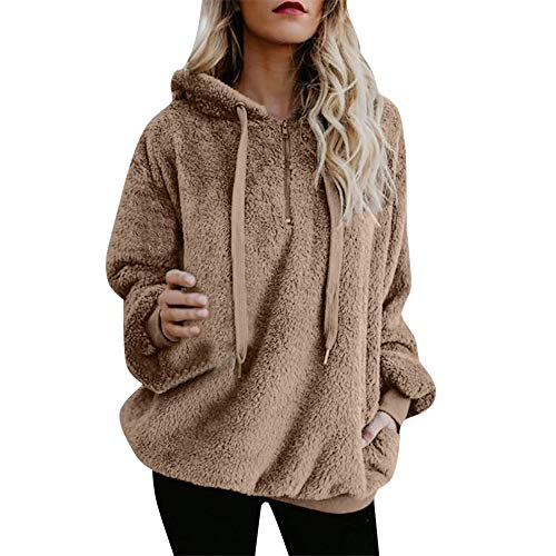 596bf8fbd87ab Toamen Womens Coat Sale Ladies Warm Faux Wool Zipper Pockets Hooded  Pullover Sweatshirt Tops Outwear(