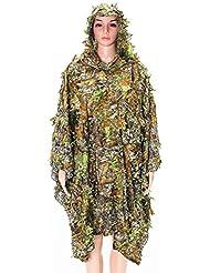 Tenues de Camouflage, OUTERDO Tenue Camouflée Suits Camouflage Vêtement de Camouflage Feuille Ghillie Suit Woodland Treillis Camo Tenue de Camouflage Jungle 3D Hunting Chasse