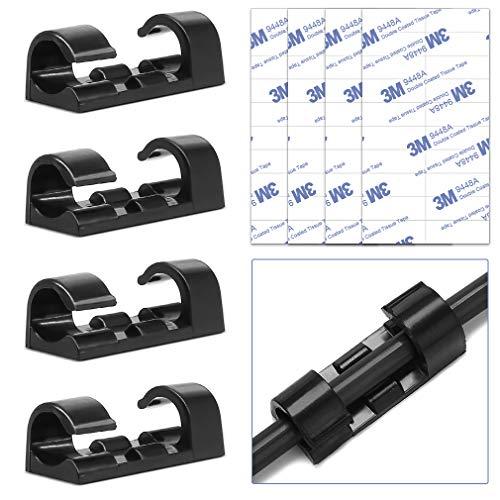 Selbstklebende Kabel-Clips, Kabel-Halterung, selbstklebend, rund, Kunststoff, 40 Stück, schwarz -