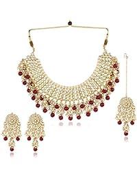 Karatcart 22K GoldPlated Traditional Kundan Pearl Bridal Red Choker Jewellery Set for Women