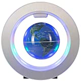 Xiaoqin Schwimmende Kugel mit LED-Leuchten Magnetschwebebahn Floating Globe Weltkarte für Schreibtisch Dekoration (blau)