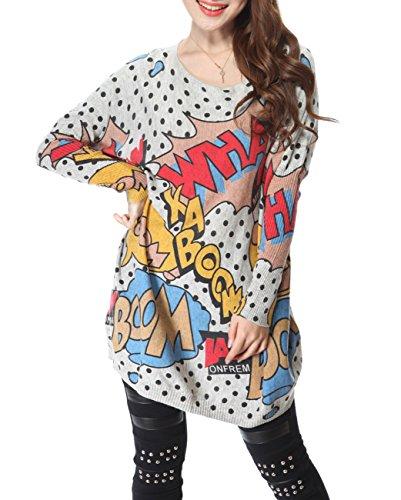 ELLAZHU Damen Comic Gedruckt Strick Pullover Einheitsgröße SZ11 (Art Pop Kleid)