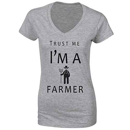 Trust Me I'm A Farmer Damen V-Neck Grau
