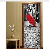 Haipeiy Türaufkleber Roter Regenschirm Old Street Sight View Wandbilder Wandaufkleber Tapete Aufkleber Home Decoration 77x200 cm