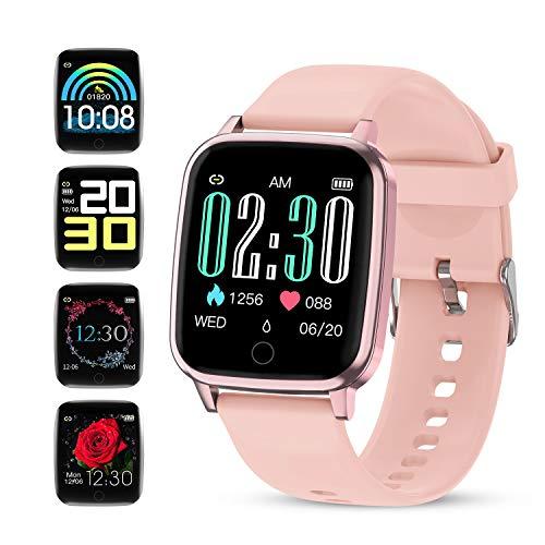 GOKOO Smartwatch Fitness Armbanduhr Für Damen Frauen IP67 wasserdichte mit Fitnesstracker Pulsmesser Schrittzähler Kalorienzähler Uhren für IOS Android