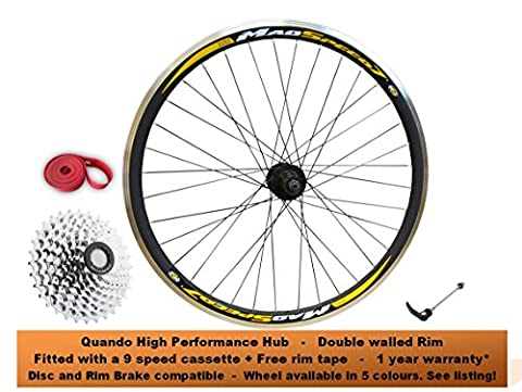 700c Hybrid Cyclocross 29inch 29er MTB Mountain Bike Rim Disc Brake REAR Wheel + 9 Speed Cassette Fitted Quando High Performance Taiwan Hubs RED BLUE YELLOW GREEN Colour