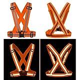 Kobwa riflettente gilet, strisce riflettenti di sicurezza ad alta visibilità bande, elastica e regolabile da corsa riflettente Gear per Night running, ciclismo, passeggiate, Arancione