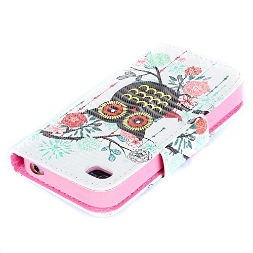 iPhone 4S Hülle, iPhone 4 Hülle,ISAKEN iPhone 4S Hülle Case,Handy Case Cover Tasche for iPhone 4S / iPhone 4, Bunte Retro Muster Druck Flip PU Leder Tasche Case Hülle im Bookstyle mit Standfunktion Ka Eule Blumen