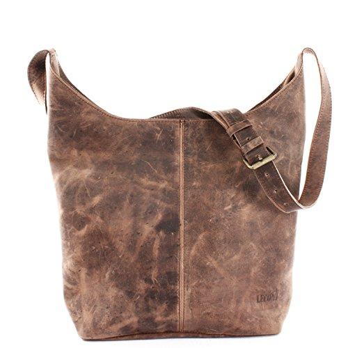 LECONI große Umhängetasche Damen Schultertasche praktische Ledertasche für  Frauen Beuteltasche Vintage-Style Damentasche Shopper aus ec5f40aae7