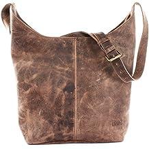 aecd19ac82793 LECONI große Umhängetasche Damen Schultertasche praktische Ledertasche für  Frauen Beuteltasche Vintage-Style Damentasche Shopper aus