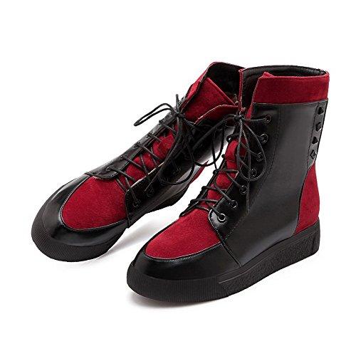 VogueZone009 Damen Rund Zehe Niedrig-Spitze Niedriger Absatz Gemischte Farbe Stiefel Rot