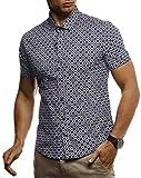 LEIF NELSON Herren Hemd Kurzarm Slim Fit T-Shirt Kentkragen | Stylisches Männer Freizeithemd Stretch Kurzarmhemd | Jungen Basic Shirt Freizeit Sweater Sommerhemd | LN3805 Blau-Weiß XX-Large