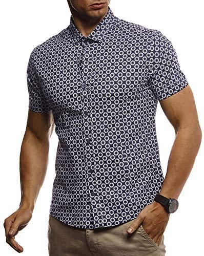 LEIF NELSON Herren Hemd Kurzarm Slim Fit T-Shirt Kentkragen | Stylisches Männer Freizeithemd Stretch Kurzarmhemd | Jungen Basic Shirt Freizeit Sweater Sommerhemd | LN3805 Blau-Weiß X-Large
