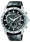 Citizen Mens Eco-Drive Chronograph Watch with a Black Dial and a Black Leather Strap AT4000-02E