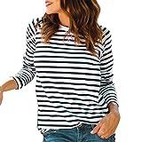 Langarmshirts Tops Damen Herbst ❤ JUSTSELL Frauen Gestreift Bluse Rundhalsausschnitt T Shirt Tunika Tops Asymmetrischer Saum Oberteile Casual Tops