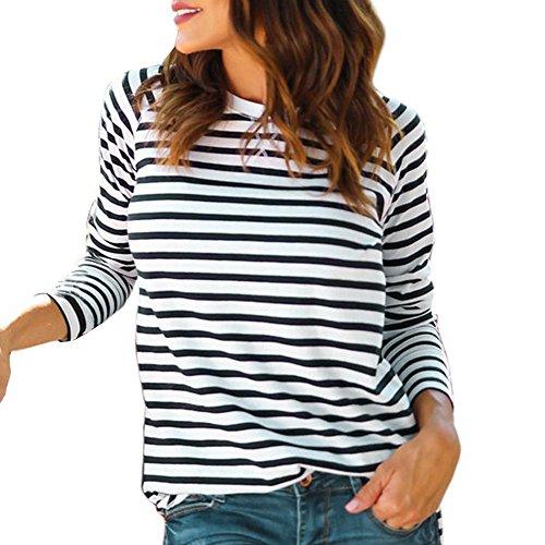 DEELIN Damen Streifen T-Shirt mit Kapuze ärmellosen Elegant Casual Tops Bluse (S, A-weiß)