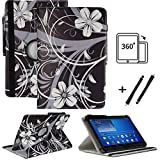 Tablet 10.1 Zoll Hülle für Jay-tech TXE10DW2 Schutzhülle Etui Case mit Touch Pen & Standfunktion - Schwarz Blume 360
