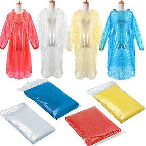 Brussels08 10Pcs Disposable Emergency Rain Poncho Cover Raincoat For Camping Hiking Backpacking Traveling Fishing Outdoor