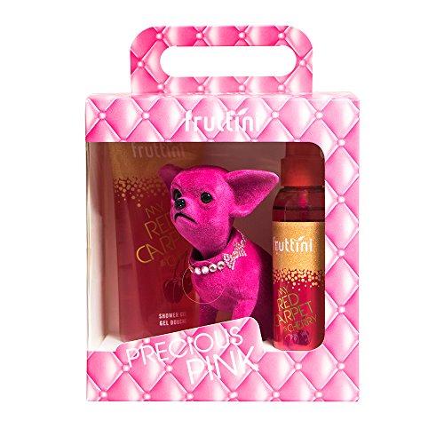 fruttini Geschenkset Precious Pink GLAMOROUS - Cherry Shower Gel 200ml & Bodyspray 150ml + süßer Wackel-Chihuahua, vegan, 1er Pack (1 x 1 Set) -