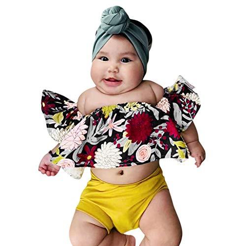 Pwtchenty Kind Baby Mädchen Sleeveless Blumendruck Spitze Top Feste Shorts Outfits Kleidung Set Sommer Kleidung (10 Für Kinder Top Besten Halloween-kostüme Der)
