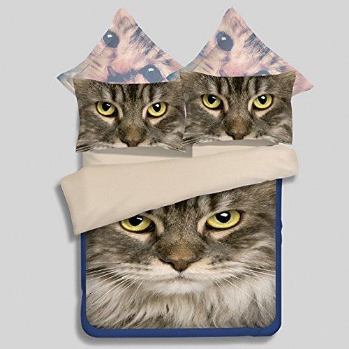 Desconocido 100% poliéster diseño de Gatos Funda de edredón Conjunto, Doble Queen King Juego de Cama, Suave de Almohada para Cama Hoja Ropa de Cama Funda de Almohada