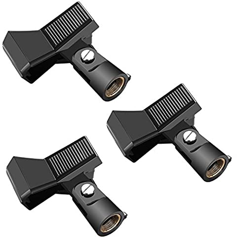 Neewer 3 Packs Microphone Clip Clamp Holder for Mic Stand with 5/8 inch Screw and Microphone Within 22MM-35MM Diameter Such as Sm57 Sm58 Sm86 Sm87