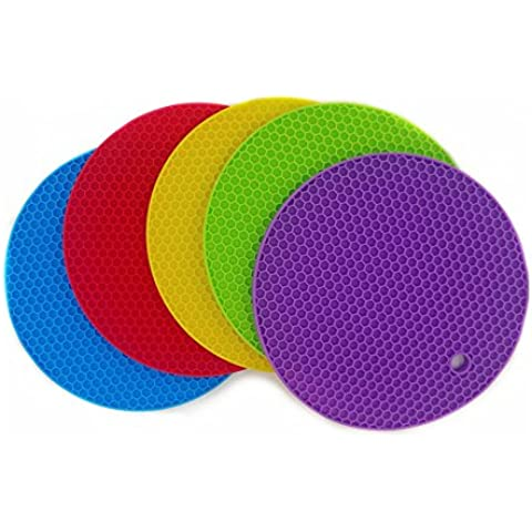 Daixers 5pcs Extra Thick Silicone Trivet Mat, Hot Pads Slip Silicone Insulation Mat For Home Use (5 Colors) by Daixers