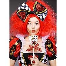 Peluca Deluxe Reina de Corazones Roja con Arco