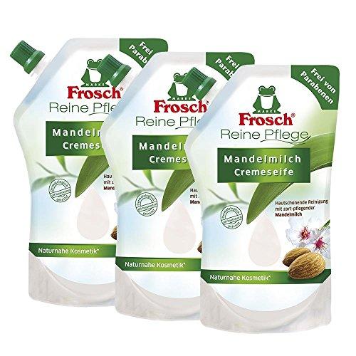 3x Frosch Reine Pflege Mandelmilch Cremeseife 500 ml - Nachfüllbeutel
