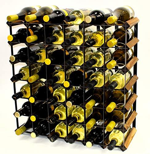 Cranville wine racks Klassische 42Flasche Nussbaum gebeizt Holz und schwarzem Metall Weinregal fertig montiert -