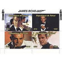James Bond 007 Briefmarken für Sammler mit Sean Connery, Roger Moore, Daniel Craig und Pierce Brosnan - 2014 - Tschad - Nicht montierte und frisch