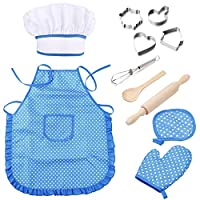 Bebester Kids Chef Set, 11PCS Kids Baking Set Kids Cooking and Baking Set Chef Hat, Mitt & Utensil for Toddler Dress Up Chef Costume Career Role Play for Girls Ages 3+