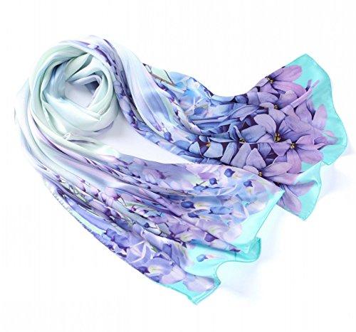 Prettystern - 180cm di lunghezza extra sciarpa delle signore lily 100% tinte pastello panno di seta - gigli viola