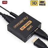 HDMI Splitter, 4K HDMI Splitter, 1 in 2 Out HDMI Splitter HDCP Ultra HD 4K x 2K 3D 1080p 2160p mit Netzteil und Kabel