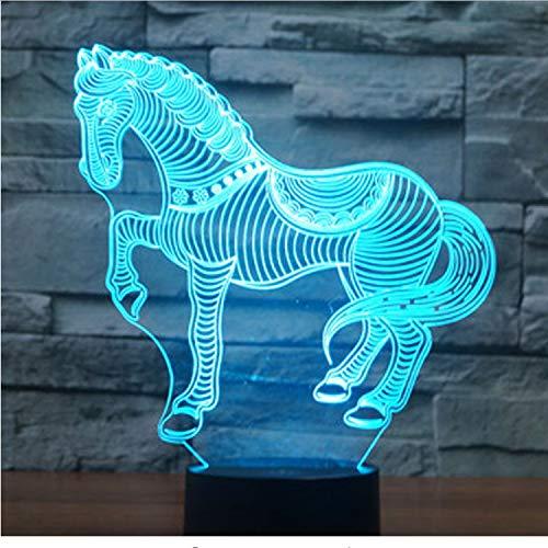 Optische Täuschungslampenachtlicht Pferd Zebra Mit 7 Farben Licht Für Heimtextilien Lampe Visualisierung Optische Täuschung 3D Led