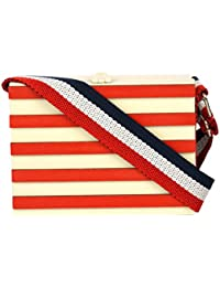 Little Surprise Box Girls' Sling Bag (Off-White And Red)