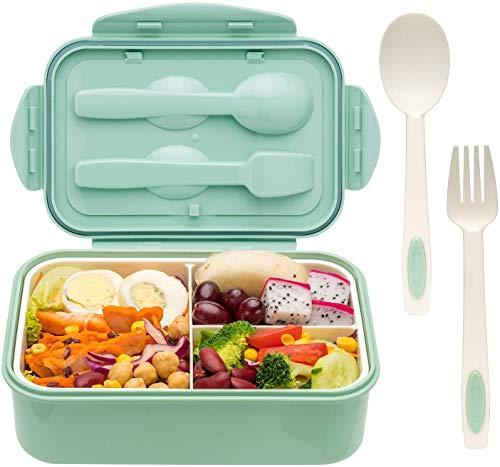 Sinwind Bento Box, Lunchbox, Brotdose Kinder, Auslaufsichere Brotzeitbox, Lunchbox mit 3 Fächern und Besteck, Vesperdose Mikrowelle Heizung (Grün)