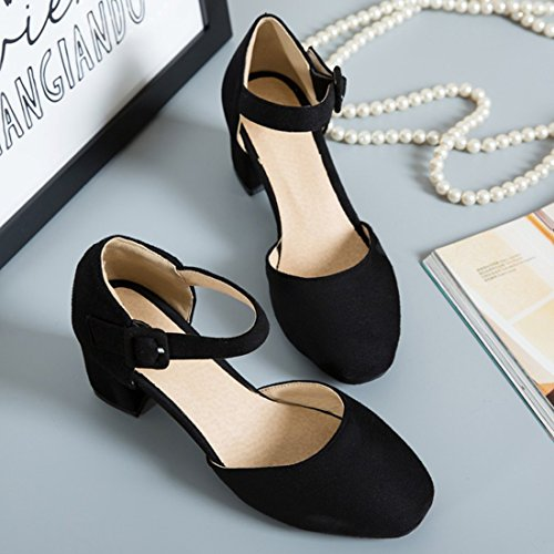 efd326f5f2b Artfaerie Women s Mid Heels Mary Janes Ankle Strap Court Shoes D Orsay  Closed Toe Summer Work Pumps