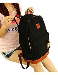 Tongshi hombres mujeres jóvenes Campus Girls viaje Mochila los bolsos de escuela Bolsas de deporte (Negro)