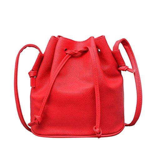 Damen tasche sale, Frashing Mode Frauen PU Leder Reine Farbe Schultertasche Messenger Bag Handtasche Satchel Kordelzug aus Leder Umhängetasche Satchel Style Bag (Wassermelonenrot)