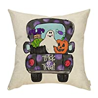 ‏‪Fahrendom Fall Farmhouse Home Décor Vintage Pumpkin Truck Sign Decorative Throw Pillow Cover Trick or Treat Autumn Happy Halloween Holiday Decoration Cotton Linen Cushion Case Sofa Couch 18 x 18 in‬‏