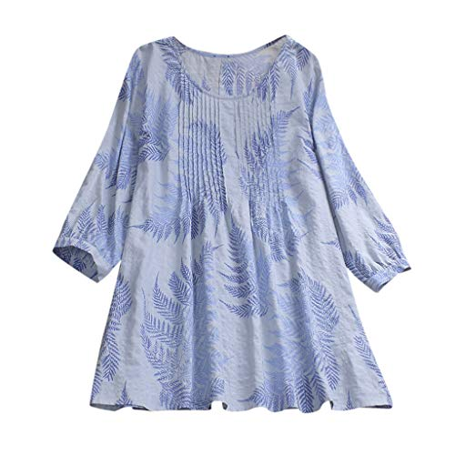 Shirt Beiläufige Lose Baumwolle Frühling Herbst Tops Solide Elegante T-Shirt Freizeithemd(C9-Blau,EU-44/CN-2XL) ()