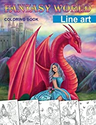 Fantasy World. Line art coloring book: Adult coloring book