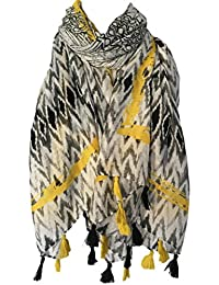 Purple Possum Tassels Scarf, Black White Yellow Wrap Tassel Trim, Ladies Shawl Wrap, Festival Scarf