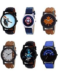 NIKOLA Treading 3D Design Mahadev Captain America Black Blue And Brown Color 6 Watch Combo (B22-B43-B34-B39-B23...