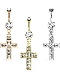 Coolbodyart acero quirúrgico 14 quilates Piercing Ombligo incoloura, oro, oro rosa colgante de cruz con cristales de circonios incoloura