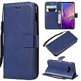 Galaxy S10 Lite Hülle, Leder Tasche Handyhülle Flip Wallet Schutzhülle für Samsung Galaxy S10 Lite mit Ständer und Kartenfächer/Magnetverschluss #E (Blau)
